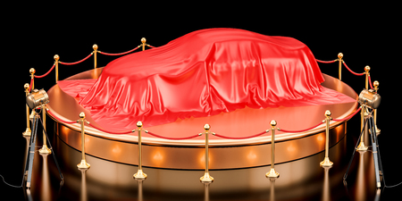 Presentation of car concept, podium with auto covered red cloth. 3D rendering isolated on black background