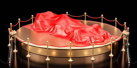 Presentation of racing car concept, podium with bolide covered red cloth. 3D rendering Stock Photo