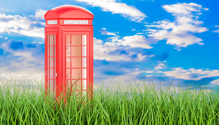 Red telephone box in green grass against blue sky, 3d rendering Stock Photo