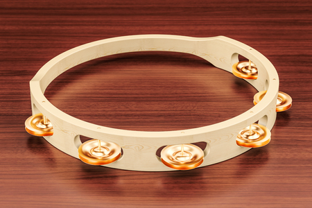 Tambourine on the wooden table. 3D rendering