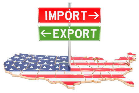 Import and export in the United States concept, 3D rendering isolated on white background