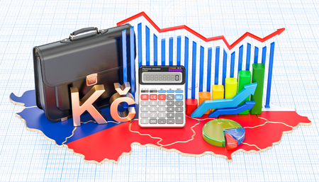 Business, commerce and finance in Czech Republic concept, 3D rendering Stock Photo - 95106209