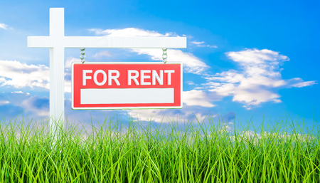 For Rent sign in green grass, 3d rendering