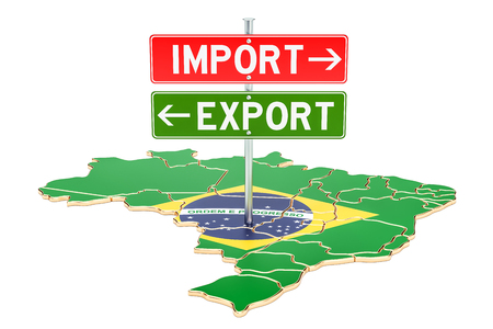 Import and export in Brazil concept, 3D rendering isolated on white background Stock Photo