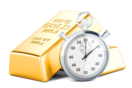 Gold bars with stopwatch, concept. 3D rendering isolated on white background
