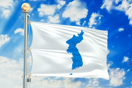 Korean Unification flag waving in blue cloudy sky, 3D rendering
