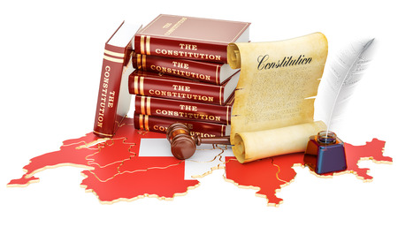 Constitution of Switzerland concept, 3D rendering
