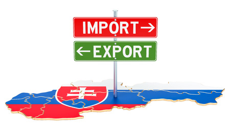 Import and export in Slovakia concept, 3D rendering isolated on white background