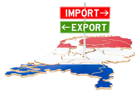 Import and export in the Netherlands concept, 3D rendering isolated on white background