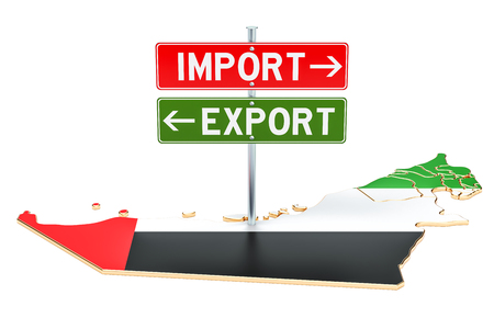 Import and export in UAE concept, 3D rendering isolated on white background