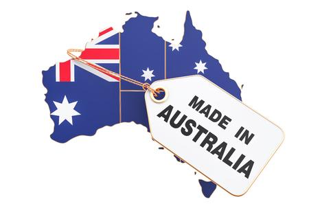 Fatto nel concetto dell'Australia, rappresentazione 3D isolata su fondo bianco