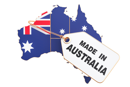 Made in Australia concept, 3D rendering isolated on white background Standard-Bild - 95423654