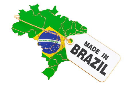 Made in Brazil concept, 3D rendering isolated on white background