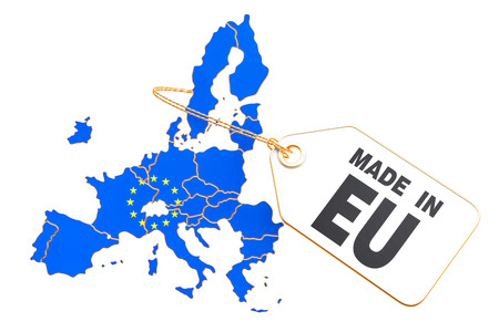 Made in European Union concept, 3D rendering isolated on white background Stock Photo
