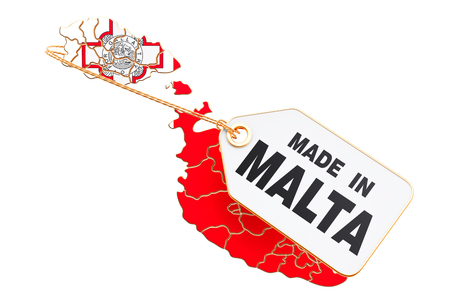 Made in Malta concept, 3D rendering isolated on white background 스톡 콘텐츠