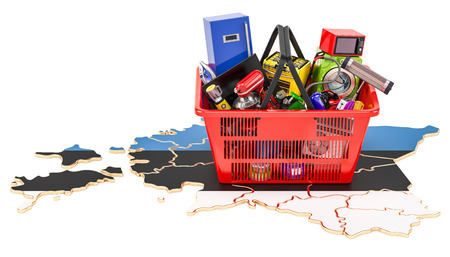 Map of Estonia with shopping basket full of home and kitchen appliances, 3D rendering Stock Photo