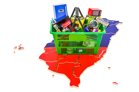 Map of Taiwan with shopping basket full of home and kitchen appliances, 3D rendering