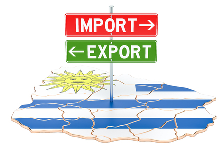 Import and export in Uruguay concept, 3D rendering isolated on white background