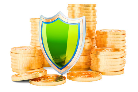 Stack of golden coins with shield, 3D rendering isolated on white background Stock Photo