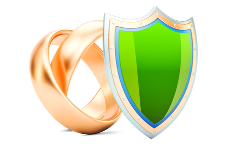 Wedding rings with shield, protection of marriage concept. 3D rendering  isolated on white background