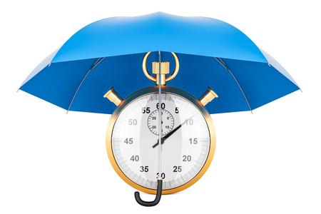 Chronometer under blue umbrella, 3D rendering isolated on white background Stock Photo