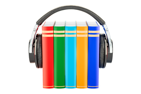 Books with headphones, audiobook concept. 3D rendering isolated on white background Stockfoto
