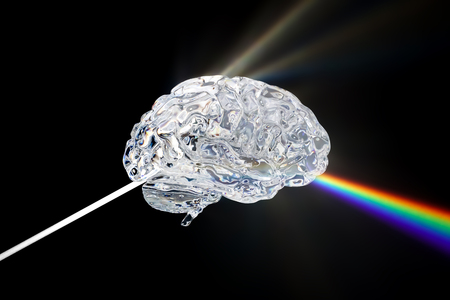 Glass human brain with visible spectrum wave rays, 3D rendering