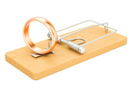 Mousetrap with wedding rings, 3D rendering isolated on white background