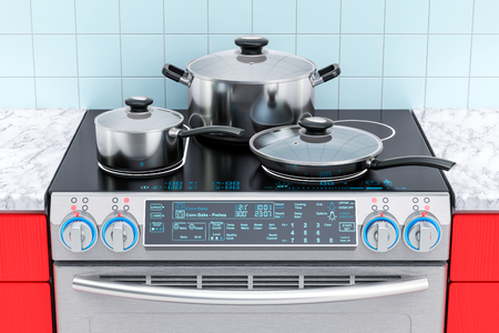 Electric slide-in convection range with pot, pan and frypan. 3D rendering