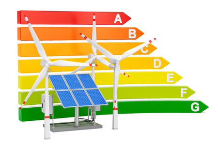 Energy efficiency chart with solar panels and wind turbines, 3D rendering isolated on white background