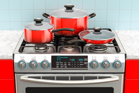 Steel gas cooker with pot, pan and frypan. 3D rendering Stock Photo