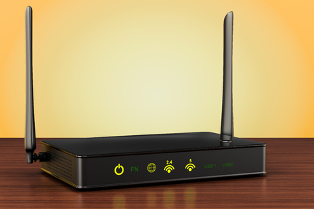 Wireless internet router on the wooden table. 3D rendering
