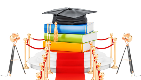 Best education concept with books and graduation cap. 3D rendering isolated on white background