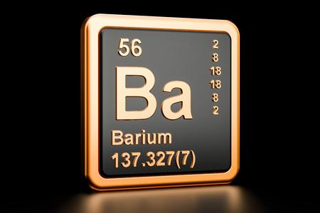 Barium Ba, chemical element. 3D rendering isolated on black background Banco de Imagens