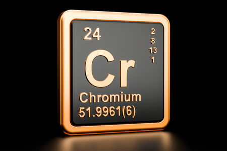 Chromium Cr, chemical element. 3D rendering isolated on black background