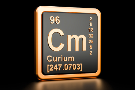 Curium Cm, chemical element. 3D rendering isolated on black background Stock Photo