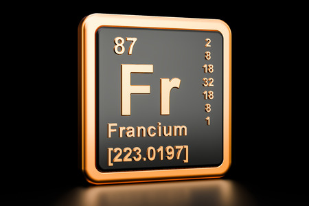 Francium Fr, chemical element. 3D rendering isolated on black background Stock Photo