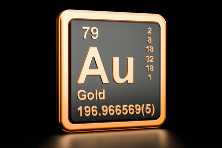 Gold aurum Au, chemical element sign. 3D rendering isolated on black background Фото со стока