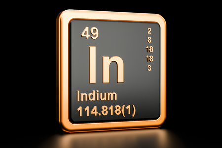 Indium In chemical element. 3D rendering isolated on black background