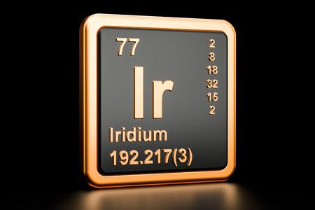 Iridium Ir, chemical element. 3D rendering isolated on black background