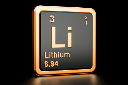 Lithium Li, chemical element. 3D rendering isolated on black background