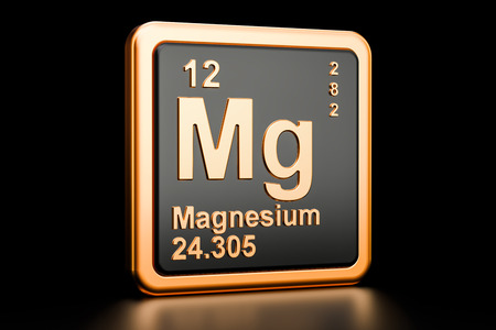 Magnesium, Mg chemical element. 3D rendering isolated on black background