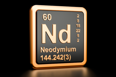 Neodymium Nd, chemical element. 3D rendering isolated on black background Stock Photo