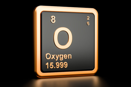 Oxygen O, element isolated on black background