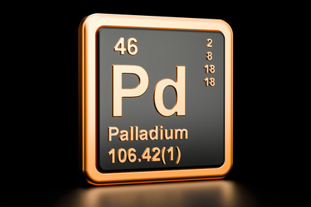 Palladium Pd chemical element. 3D rendering isolated on black background Archivio Fotografico