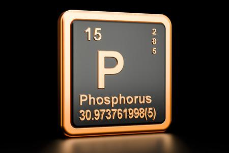 Phosphorus P, chemical element. 3D rendering isolated on black background Stock Photo