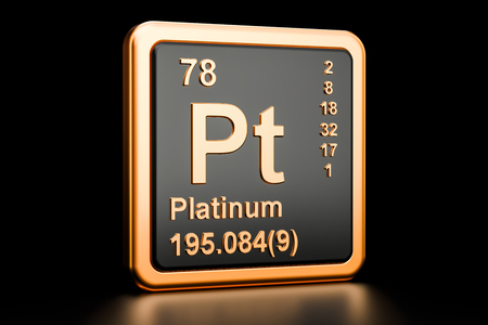 Platinum Pt, chemical element. 3D rendering isolated on black background