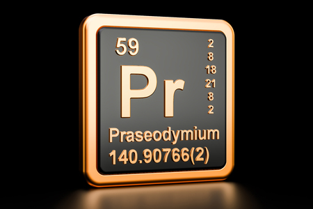 Praseodymium Pr, chemical element. 3D rendering isolated on black background