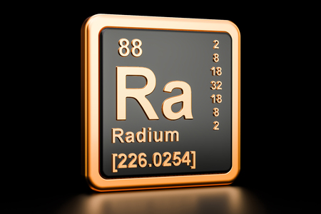 Radium Ra, chemical element. 3D rendering isolated on black background
