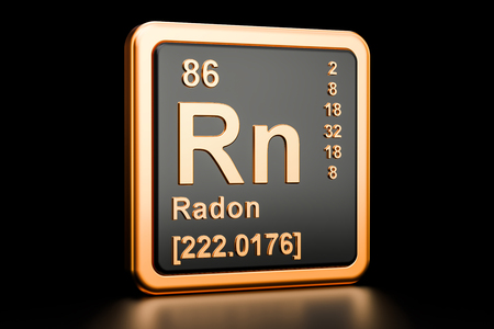 Radon Rn, chemical element. 3D rendering isolated on black background Stok Fotoğraf